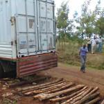 aankomst container 2 en neerzetten